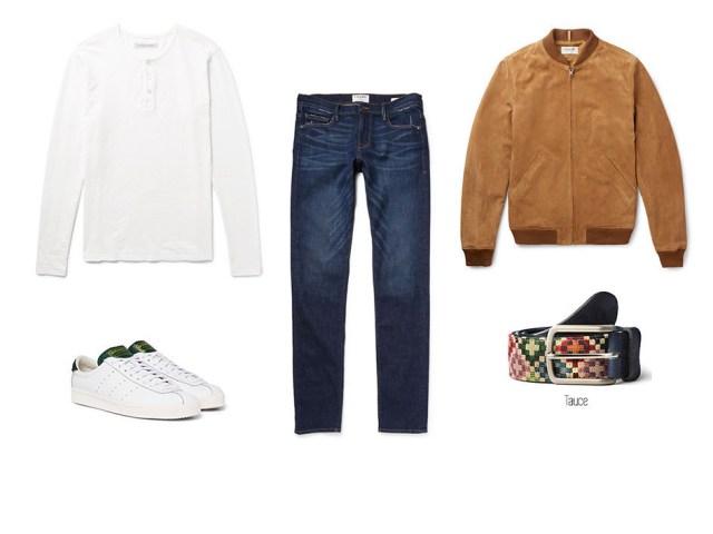 Look décontracté avec coupe-vent, jean ou jean, t-shirt blanc, baskets blanches et ceinture bleu trou Tauce