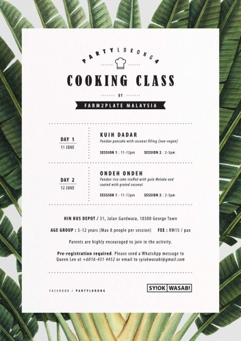 cooking workshop at party lorong
