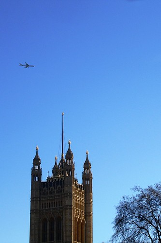 Westminster Abbey & a plane