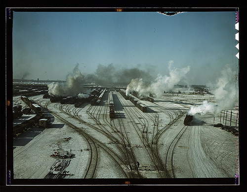 General view of one of the classification yards of the Chicago and Northwestern Railroad, Chicago, Ill. Dec. 1942