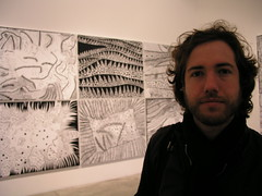 Paul, in front of silkscreens by Yayoi Kusama, at her exhibition at the Victoria Miro Gallery, London, February 2008.