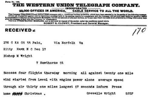 Wright Brothers telegram