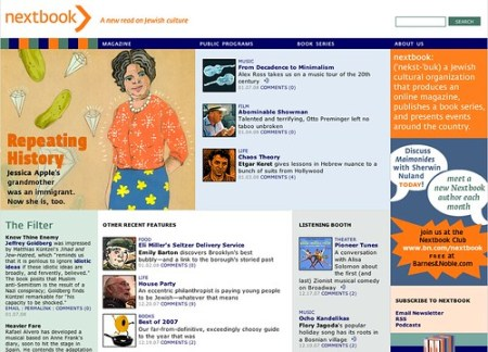 Nextbook.org home page, January 7, 2008