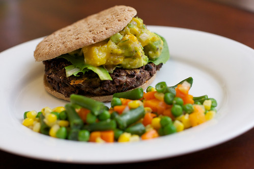 Black Bean Veggie Burger with Mango Salsa