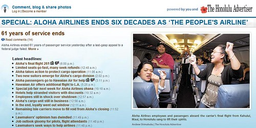 Honolulu Advertiser coverage of Aloha Airlines shutdown
