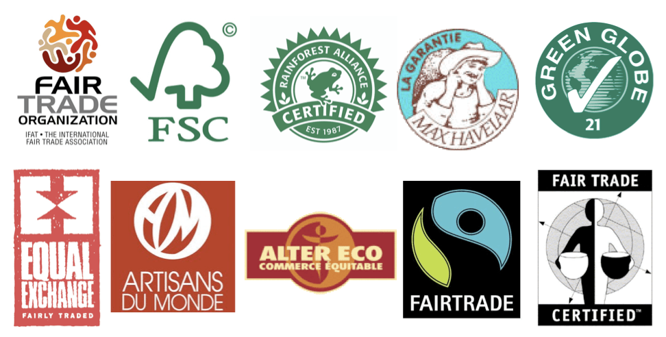 Green, sustainable development and fairtade logos