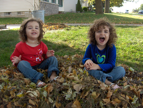 Emma and Grace in the leaves