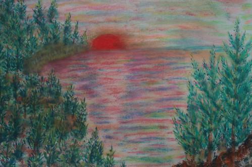 明和_夕陽西下的湖景