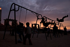 Children playing at sunset, Jordan