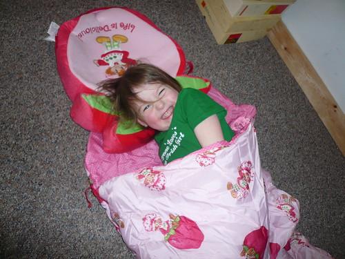 her sleeping bag