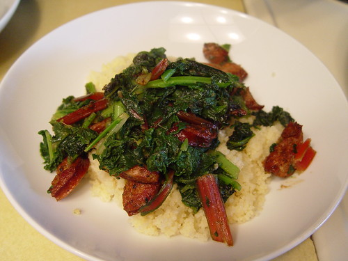 Sausage with blanched greens