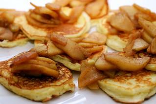 lemon ricotta pancakes with sauteed apples