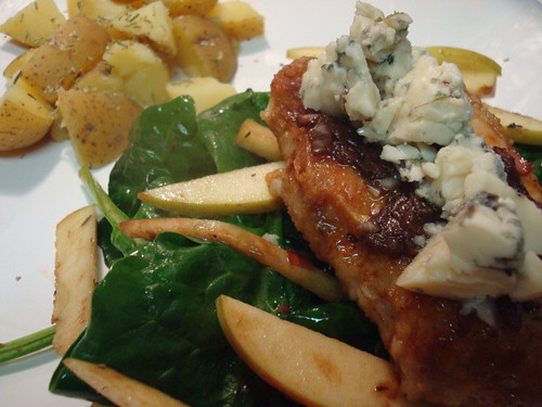 Blue Cheese Pork with Wilted Spinach Salad