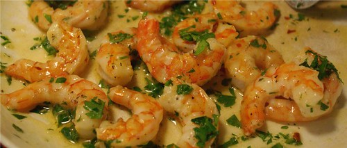 saucing broiled shrimp
