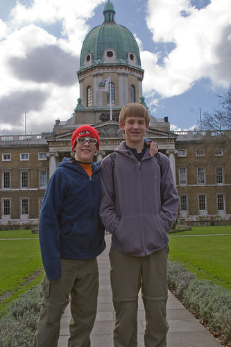 Jacob and Matthew in front of Imperial War Museum