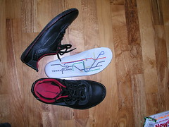 my new Terra Plana shoes with London-tube-mapesque insoles