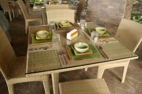 Furniture at the restaurant at Bamboo Beach