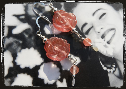 Orecchini rosa cherry - Cherry quartz earrings AMHDFCQ