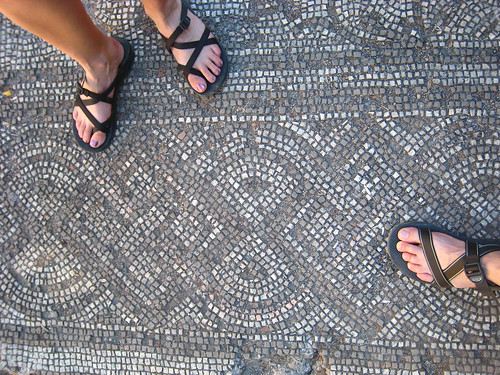 Recently discovered mosaic floor (this is the remains of the 2nd floor- there is likely another mosaic buried below)