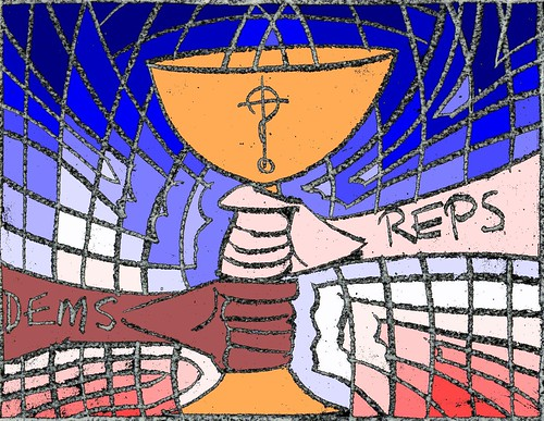 Two hands grasping a communion cup