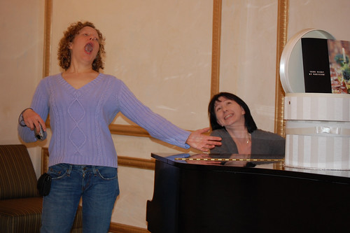 Jen sings while I accompany her on piano