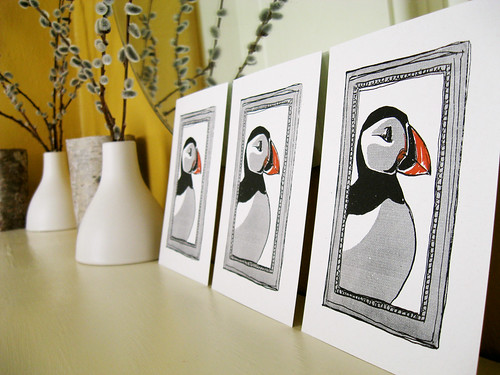 New puffin gocco prints going into the shop soon!