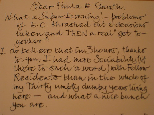 Dear Paula and Gareth, What a Super Evening! - problems of E.C. thrashed out & decisions taken and THEN a...