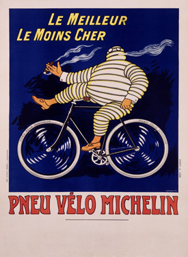 Cigarette smoking French Michelin man on a bicycle