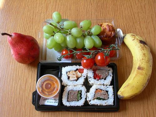 California Rolls, grapes, tomatoes, blush pear, mini cheesy red pepper muffin (didn't eat the banana)