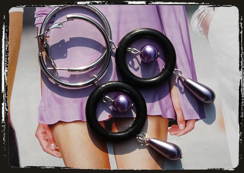 Oreccchini viola neri - Purple black earrings MEHLCNL