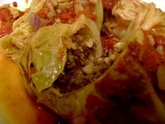 Splitting Open Stuffed Cabbage