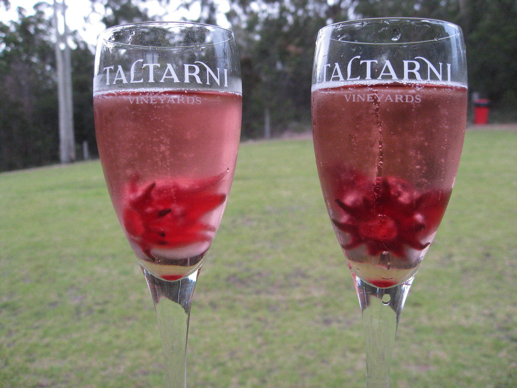 Champagne with hibiscus flowers adventures in food you can also eat the flower after you have finished your drink it is flavoured with raspberry and rhubarb izmirmasajfo