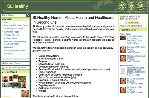 SLHealthy - A Wiki for Health Information In Second Life