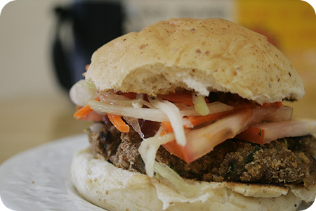 Burger with beef patties