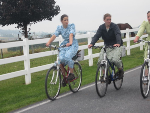 Amish girls riding
