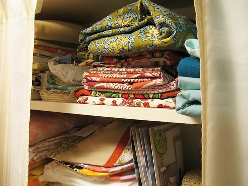 Craft room shelves.