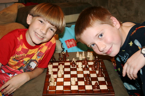 Kendall and Noah playing chess