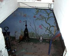 creepy basement cat