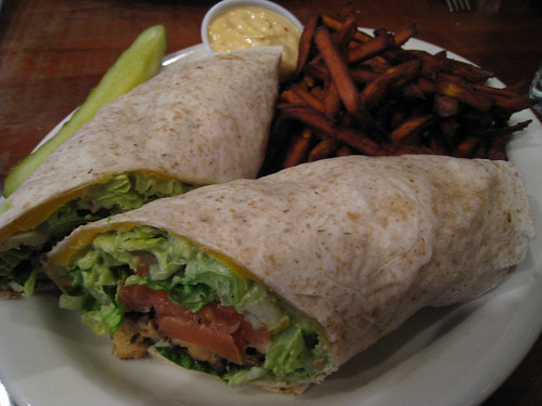 Tempeh, Lettuce, Tomato with Yam Fries