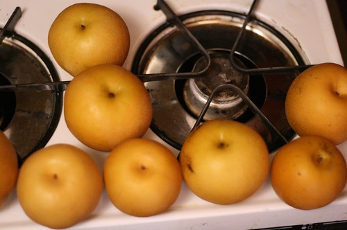 Asian Pears about to be buttered
