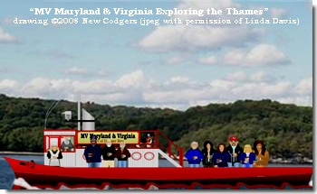 """""""MV Maryland & Virginia Exploring the Thames"""" drawing ©2008 New Codgers"""