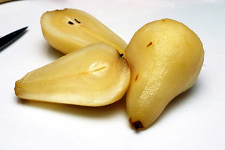 poached pears, halved
