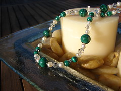 Malachite, cultured pearl and Swarovski crystal necklace detail