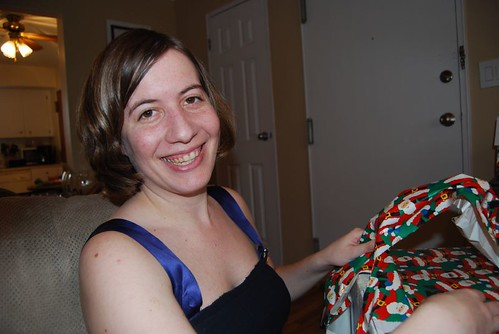 me opening gifts.
