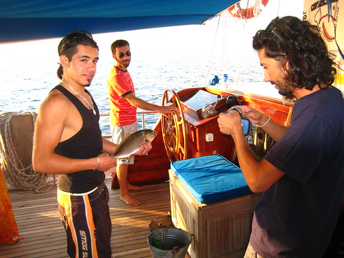 Our crew- Memhet (cook), Atilla (skipper, who got called up for Iraq on our last day), and Ramazan (Captain)