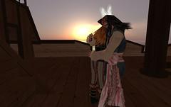 Captain Jack Sparrow hugs Gwyn