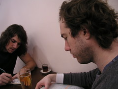 Paul and Mikey at a restaurant, having Chinese food