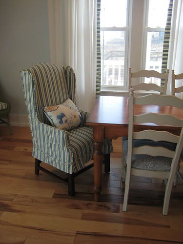 Solid wood chairs and table, American made; washable wing chair cover