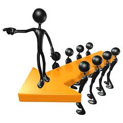 3D Team Leadership Arrow Concept