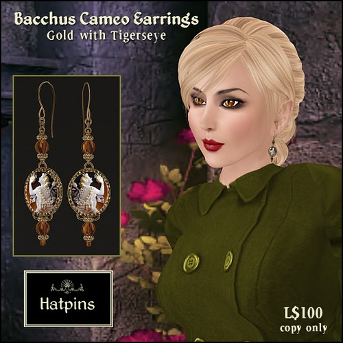 Hatpins - Bacchus Cameo Earrings
